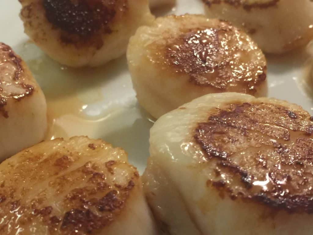 Searing the scallops