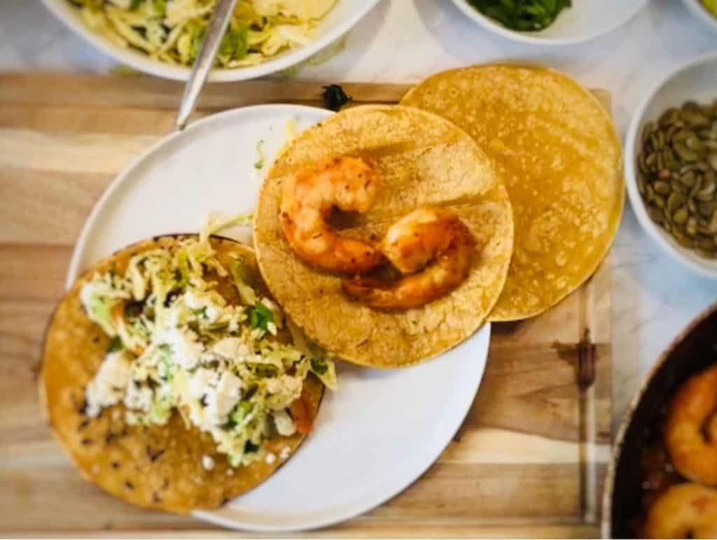 Shrimp Tacos Diablo with Pickled Cabbage & Lime by Sun Basket