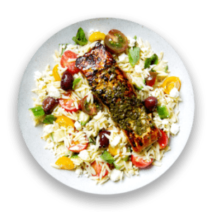 Souvlaki-Marinated Salmon with Greek Orzo Salad