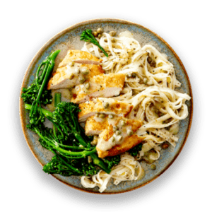 Chicken Piccata with Broccolini  &  Lemon Pepper Tagliorini