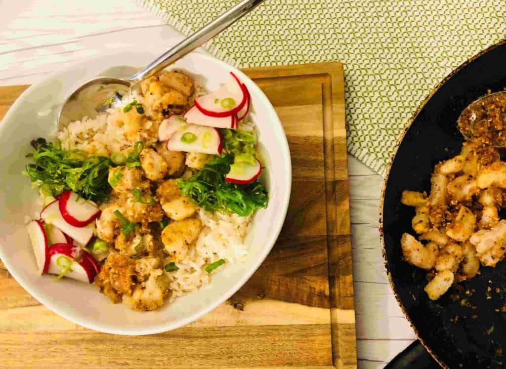 Spicy Crunchy Shrimp Bowls by plated