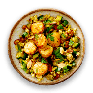 Pan-Seared Day Boat Scallops with Curried Cauliflower Couscous
