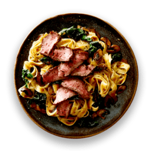 Tuscan Sirloin Steak with Mushrooms  &  Fettuccine in Three Peppercorn Sauce