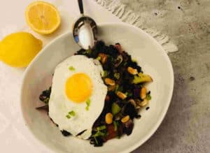 Thai Stir-Fry with Bok Choy, Black Rice and Fried Eggs