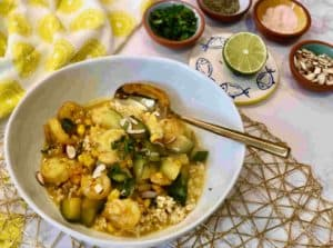 Shrimp Coconut Curry with corn and Zucchini by Plated