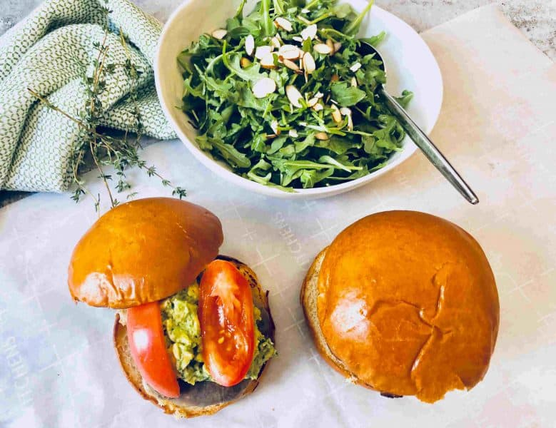 Crispy Mushroom Burgers with White cheddar and Avocado by Plated