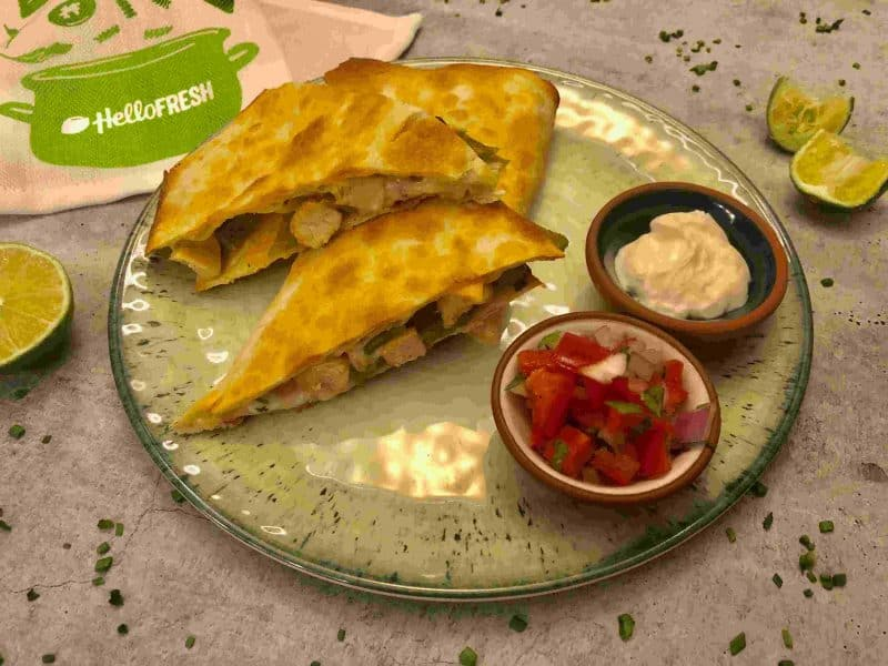 Review: Chicken pineapple quesadillas by Hello Fresh