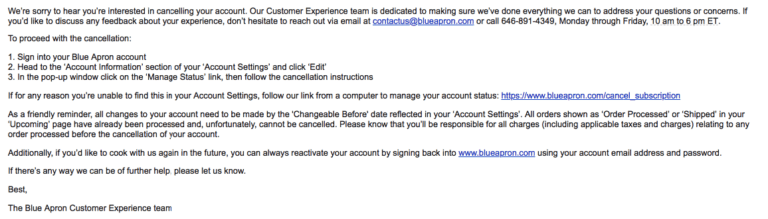 blue apron email cancelation