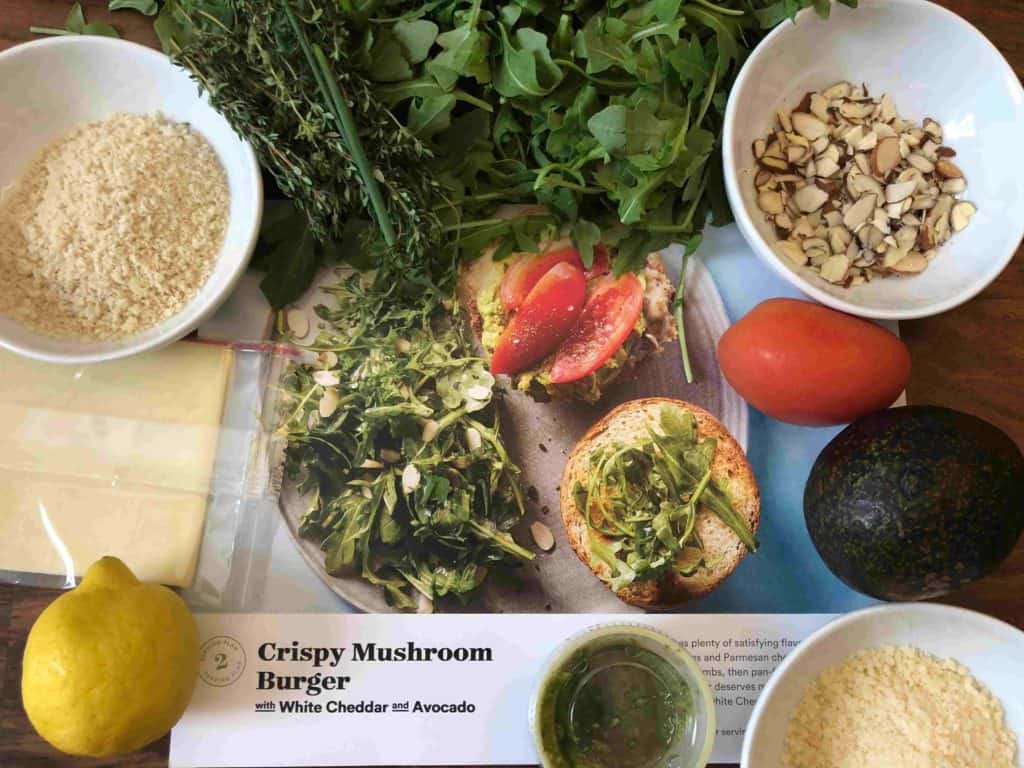 Plated vegetarian meal kit box