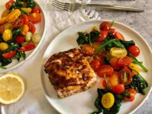 Spicy Cod with Burst Tomatoes and Wilted Spinach by Terra's Kitchen