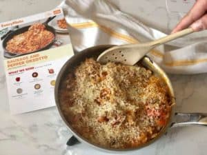 Sausage and Pepper Baked Orzotto with a Cheesy Panko Crust