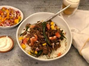 Southwestern Beef Bowl with Chipotle Cream, Pico de Gallo and Lime Rice