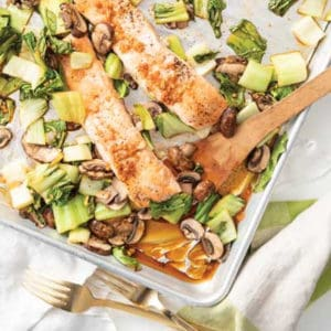 Lean + Green: Sheet Pan Sesame Salmon and Bok Choy
