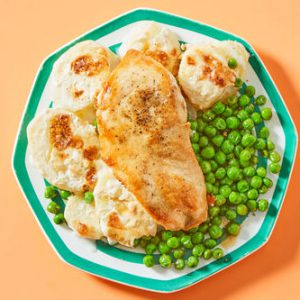Seared Chicken & Peaswith Scalloped Potatoes
