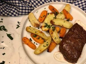 Balsamic-Marinated Steak with Roasted Vegetables and Creamy Horseradish by Plated