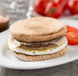 English Muffin Sandwich with Egg, Turkey Sausage and Cheddar