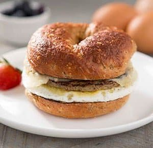 Bagel Sandwich with Egg, Turkey Sausage and Cheddar