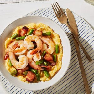 Shrimp and Green Beans with Bacon and Spicy Grits