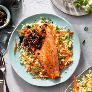 Nowruz sustainably farmed trout with tamarind onions and couscous