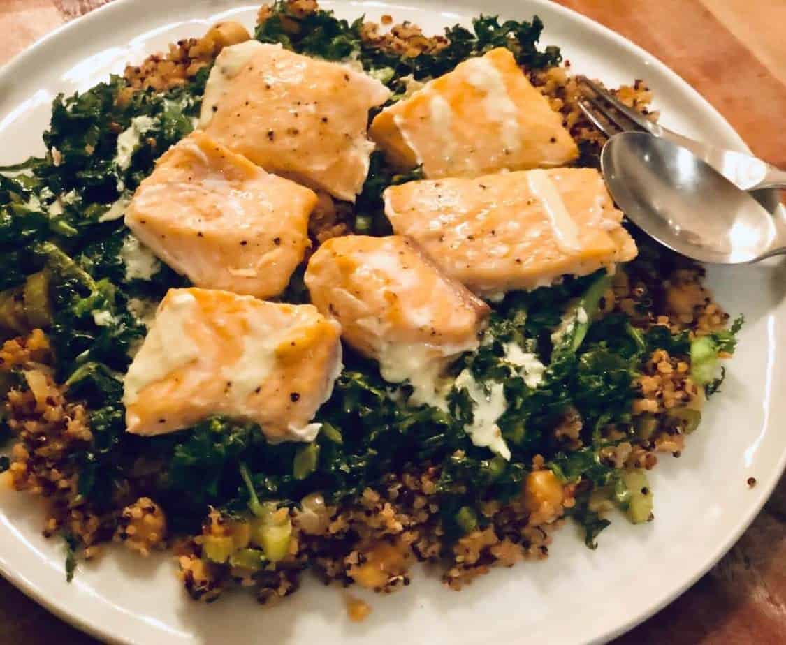 Salmon and Quinoa Bowl with Wilted Greens by Sun Basket