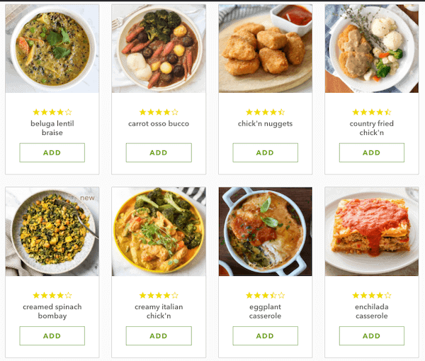 veestro meals selection